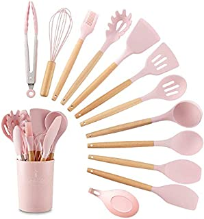 11 pcs set Durable Practical Heat Resistant Silicone Kitchenware Kitchen Tool Cookware Sets (Pink-11 piece set (including ...