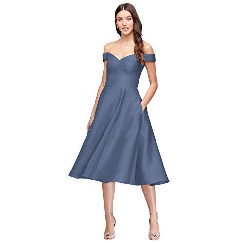 David's Bridal Off-The-Shoulder Tea-Length Bridesmaid Dress Style F19743, Steel Blue, 14