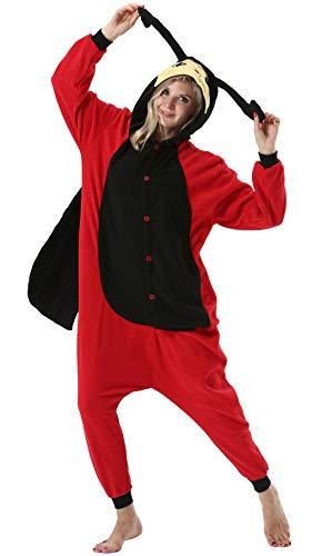 Pijama Animal Entero Unisex para Adultos con Capucha Mujer Hombre Cosplay Pyjamas Ropa de Dormir Traje de Disfraz para Festival de Carnaval Halloween Navidad Mariquita para Altura 148-187cm