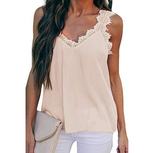 Lazzboy Weste Top Damen Spitze ärmelloses Lässige Tank Bluse Sommer Tops Tshirt Damenmode Sexy Fassade Cami Leibchen T-Shirt(Beige,M)