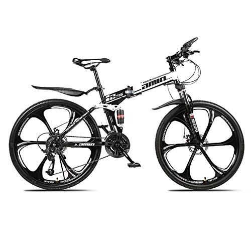 QXue 24 Inches Mountain Bike for Men and Women, High Carbon Steel Dual Suspension Frame Mountain Bike, Variable Speed Wheel Folding Outroad Bike,White,21 Speed