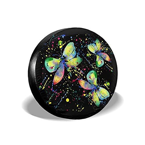 Mariposas abstractas de Acuarela con Manchas de Tinta Poliéster Potable Cubierta de llanta de Rueda de Repuesto Cubiertas de Rueda Ajuste Universal