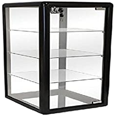 Dimensions: 27''H x 14''W x 12''D Color: Black Material: Black Anodized Aluminum with Tempered Glass Includes Three Removable Tempered Glass Shelves Includes Lock and Key