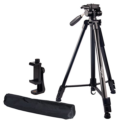 Regetek Travel Camera Tripod (Aluminum 63' Adjustable Camera Stand with Flexible Head) -Portable Tripod for Canon Nikon Sony DV DSLR Camera Camcorder Gopro Action Cam/iPhone & Carry Bag & Phone Mount