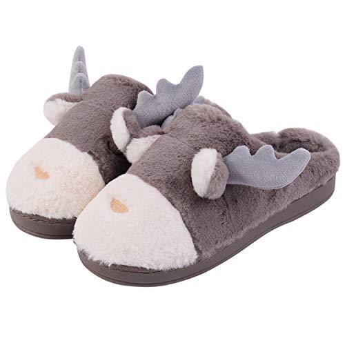 Aibrou Unisex Hausschuhe Winter Wärme Pantoffeln Home rutschfeste Slipper mit Memory Foam Plüsch Weihnachten Cartoon Elch Hüttenschuhe für Damen/Herren