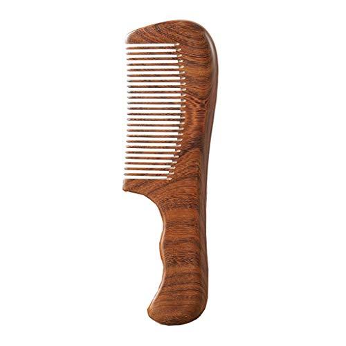 Ffshop Natürlicher Sandelholzkamm Komfortabler großer Kamm für zu Hause Traditioneller Kamm für gesundes Friseursalat (Größe: feine Tooth Comb)