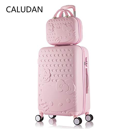 Mdsfe 2 pcs/Set Beautiful 14-inch hello Kitty cosmetic bag 20 24 28inch students Travel luggage trolley case a woman rolling suitcase - 1 set, 24'