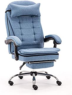 Gamingstolslift Ergonomisk Skrivbordstol Med Vadderad Fotstöd Avtagbart Nackstöd Kan Rotera 360 Grader (färg: Blå)