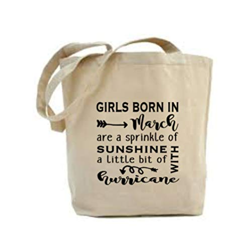 March Birthday Gift, Girls Born In March Are A Sprinkle Of Sunshine & A Little Bit Of Hurricane Tote Bag, Designed & Printed In the UK By The Perfect Print Co.