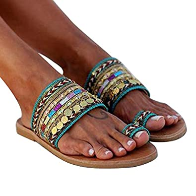 Aunimeifly Women Boho Sandals Greek Style Flip-Flops Ladies Ethnic Clip Toe Flats Slides Summer Shoes
