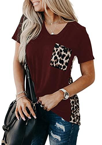 Camiseta Mujer Sexy Estampado Leopardo Costura Decoración De Bolsillo con