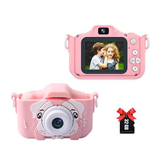 Amycute Cámara para niños, cámara de fotos y vídeo con 20 megapíxeles, lente dual, pantalla de 2 pulgadas, 2,5 K UHD, 32 G TF, 2,4 mil fotos/filtro, tarjeta de regalo para niños y niñas de 4 a 10 años