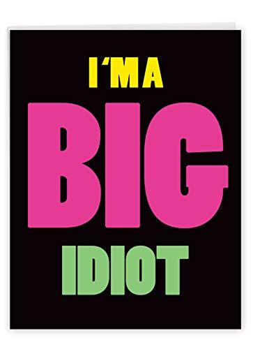 NobleWorks - Jumbo I'm Sorry Greeting Card (8.5 x 11 Inch) - Big Funny Apology Message - Big Idiot J3946SRG