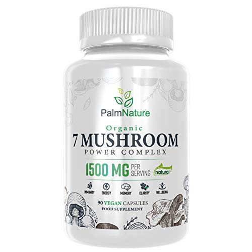 Palm Nature 7 Mushroom Power Complex - Lions Mane, Chaga, Reishi, Shiitake, Maitake, Tremella and Cordyceps - Immune System Booster & Nootropic Brain Supplement – Organic – Natural - 90 Vegan Capsules