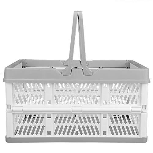 HERCHR Caja de Transporte con Asas, Caja de Almacenamiento Estable Cajas Plegables para Almacenamiento, Cestas de Plástico para la Compra de Comestibles con Asas, 29.8 x19.8 x16.3 cm(Blanco)