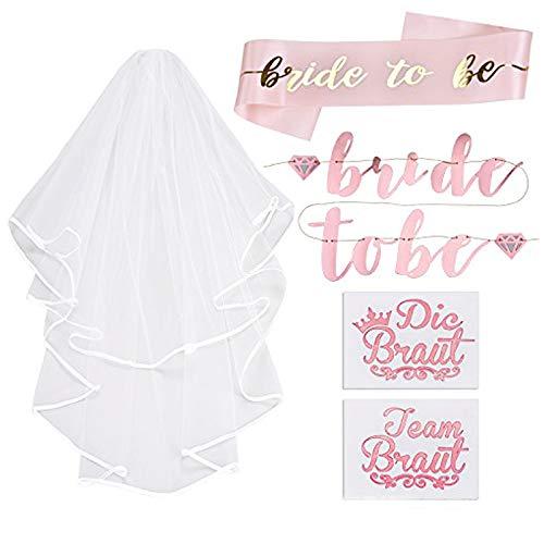 Lelengder JGA deko accessoires für den Junggesellinnenabschied | Banner + Schärpe + weißer Schleier mit Kamm + 20 Tattoos für Braut to be, Team Braut