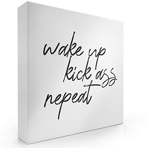 Modern Market Wake Up Kick Ass Repeat Wooden Box Sign Inspirational Motivational Quote Home Decor Sign with Sayings 8 x 8