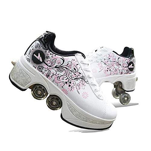 WYEING. Verstellbare Quad-Rollschuh-Stiefel,Quad Skate Rollschuhe Skating Multifunktionale Deformation Schuhe 2-In-1-Mehrzweckschuhe, Für Kinder Geeignet, Anfänger,Weiß,38
