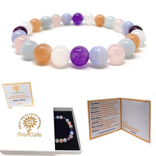 Stress and Anxiety Power Bead Bracelet - Healing Crystal Gemstones - Gift Box and Tag - Moonstone, Lepidolite, Blue Lace Agate, Amethyst, Aquamarine, Rose Quartz, Sunstone