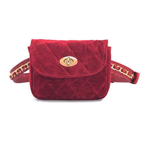 TTD Mode Petite Taille Douce Fanny Pack Sac Poche pour téléphone Portable pour Les Femmes et Les Filles-Rouge