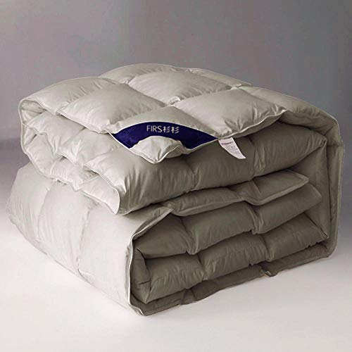 Hahaemall single duvet 10.5 tog Goose Feather Duvet,Quilt, 100% Cotton Shell, Anti Dust Mite-100% Cotton Anti Dust Mite&Down Proof Fabric-Anti Allergen Winter Quilt-200x230cm-3000g_D