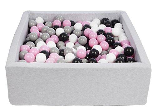 Velinda Piscine a balles pour Enfant, Dimensions: 90x90 cm, Aire de Jeu + 450 balles (Couleurs des balles: Noir,Blanc,Rose Clair,Gris)