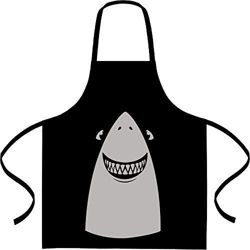 Shirtgeil Witte Hai Halloween kostuum kookschort, barbecueschort, schort Eén maat zwart