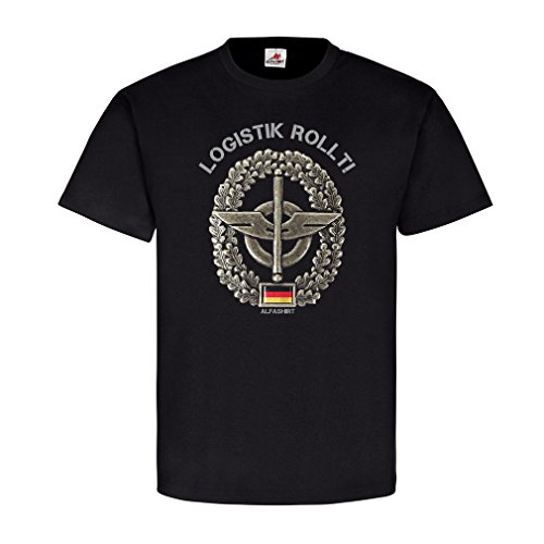 Logistik rollt Barettabzeichen Bundeswehr Logistiktruppe Nachschub Heer Heereslogistiktruppen Emblem T Shirt #20815, Farbe:Schwarz, Größe:Herren L