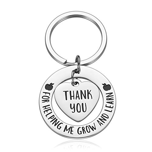 Teacher Appreciation Week Gifts Keychain for Women Men Thank You for Helping Me Grow and Learn Birthday Christmas Christmas Gifts for Mom Dad BFF