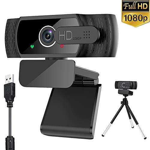 AXUF Webcam 1080P con Microfono, Webcam PC Laptop Desktop Computer USB 2.0 con Clip Regolabile per Videochiamate, Studi, Registrazione e Giochi
