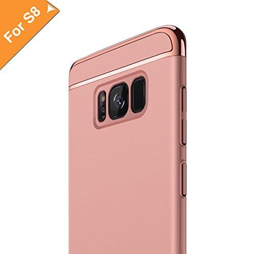 RANVOO Kompatibel mit Samsung Galaxy S8 Hülle, 3-Teilige Styliche Extra Dünne Harte Galaxy S8 Case Schale Anti-Fingerabdruck Bumper Case Handyhülle Schutzhülle, Roségold