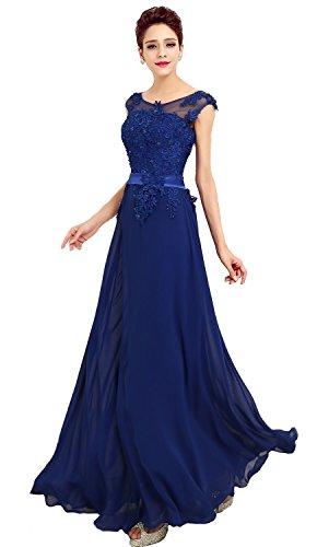 emmarcon Abito da Cerimonia Donna in Chiffon Damigella Vestito Lungo Elegante da Festa Party-Blue-L(Busto 92cm)