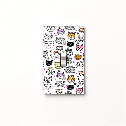 1 Gang Wall Plate Cover Decorator Wall Switch Light Plate Whimsical Cat Faces Pattern Classic Beadboard Unbreakable Faceplate