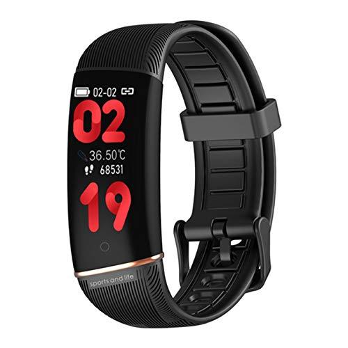 BFL E98 Medición De Temperatura De Reloj Inteligente, Rastreador De Fitness De Frecuencia Cardíaca, Podómetro, Monitoreo del Sueño, Mujeres Y Pulseras Inteligentes para Hombres,B