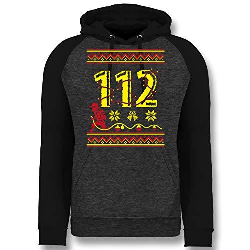 Weihnachten & Silvester - 112 Feuerwehrmann - Wintermuster - XL - Anthrazit meliert/Schwarz - Fun - JH009 - Baseball Hoodie