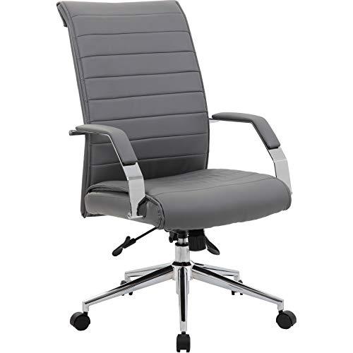 Office Furniture Online Chefsessel aus Lederfaserstoff mit hoher Rückenlehne | Identity | Grau