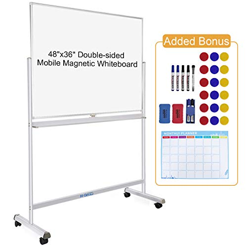 48″x36″ Mobile Whiteboard Double-Sided Magnetic Dry...