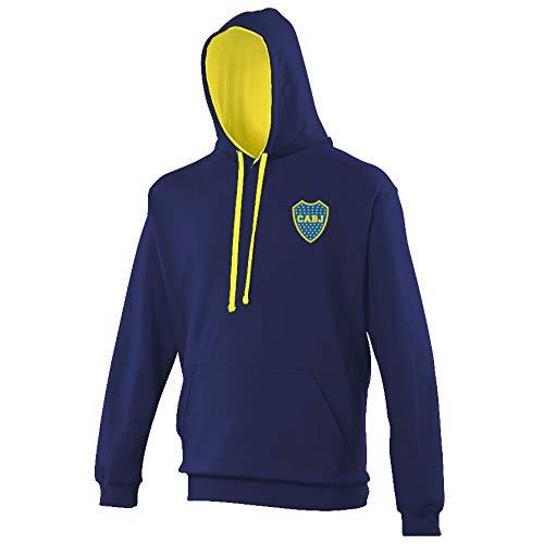 Boca Juniors - Sudadera con Capucha Bicolor Marina y Amarillo con Logotipo Unisex, N'est Pas Applicable, Unisex Adulto, Color Azul Marino, tamaño XXL