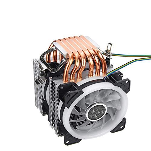 Yihaifu Reemplazo para 775/1150/1151/1155/1156/1366 / AMD RGB 4-Pin 2 Ventiladores CPU Cooler Ventilador de la CPU de 4 Pines 6 Quiet heatpipe Componente de Ordenador