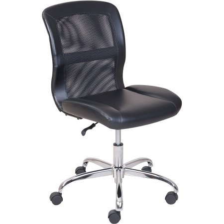 Mainstays Vinyl and Mesh Task Chair, Black with Durable dual wheel casters