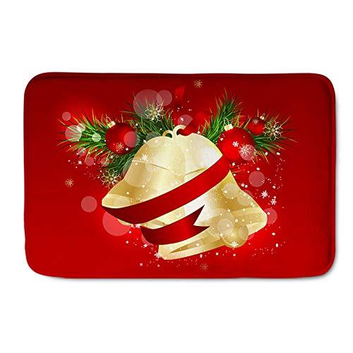 Campana de Navidad Alfombra Patrón de Bola de Navidad Alfombra de Puerta Festival de Navidad Alfombra de Antideslizante para Sala de Estar Dormitorio Pasillo Cocina,Merry Christmas,50 * 80cm