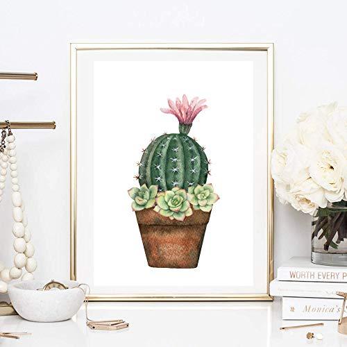 Din A4 Kunstdruck ungerahmt - Kaktus mit Blüten Sukkulenten Dachwurz Aquarell Natur Topfpflanze Druck Poster Bild