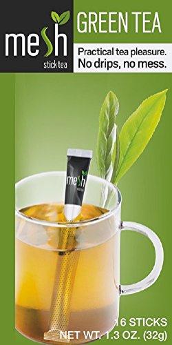 Mesh Tee 16 Sticks - Tee genießen leicht gemacht - Kein Beutel, Kein Tropfen, Kein Löffel - Einfach in der Handhabung, natürlich im Geschmack! (Grüner Tee)