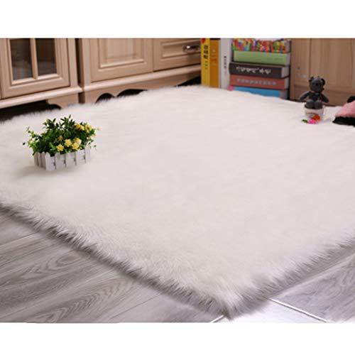 Kunstmatige wollen tapijt 5-6cm lange vezels Vierkant Stuhl-Matte Sofa-Mat Knus gevoel als echte wol,White,100×100cm