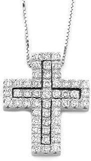 Gems&Gold Pendente a Croce in oro Bianco con incastonati diamanti 0,77 ct