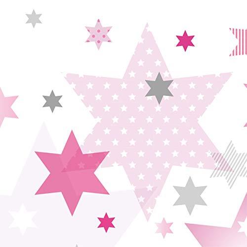 Anna Wand Bordüre selbstklebend Stars 4 Girls - Wandbordüre Kinderzimmer/Babyzimmer mit Stern-Motiven in Rosa-Grau Tönen - Wandtattoo Schlafzimmer Mädchen & Junge, Wanddeko Baby/Kinder
