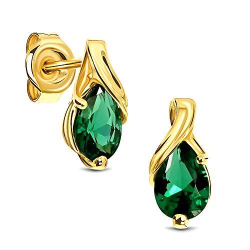 Miore Ohrringe Damen tropfen Ohrhänger mit Edelstein/Geburtsstein Smaragd in grün aus Gelbgold 9 Karat / 375 Gold, Ohrschmuck