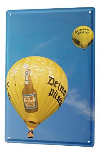 LEotiE SINCE 2004 Blechschild Bier Retro Deko Detmolder Pilsner Heißluftbalon Partykeller Fun Wand Deko 20X30 cm