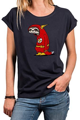MAKAYA lustiges Tshirt für Damen mit Aufdruck Kurzarm Rundhals locker geschnitten - Flash Faultier - Big Bang Theory dunkelblau Größe L