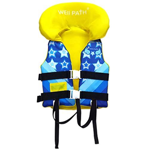 Chaleco de natación para niños - Chaleco de natación de flotación de natación para bebés con protección para la Cabeza, Chaleco de natación de flotabilidad con Hebilla Ajustable (S/M-16-21KG, Azul)